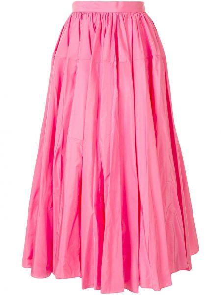Różowa spódnica midi z wysokim stanem Delpozo