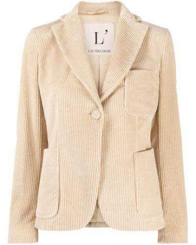 Приталенный удлиненный пиджак вельветовый с карманами L'autre Chose