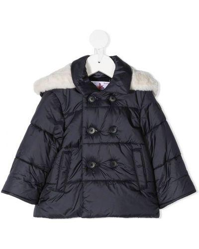 Длинное пальто с капюшоном из искусственного меха двубортное Il Gufo