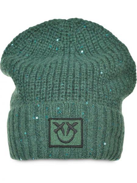 Prążkowana zielona czapka wełniana Pinko