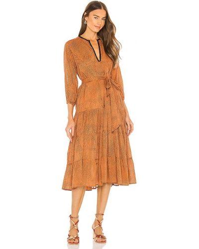 Хлопковое платье миди - оранжевое Karina Grimaldi