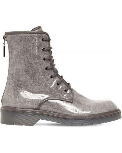 Gumowe ankle boots sznurowane na obcasie Max Mara