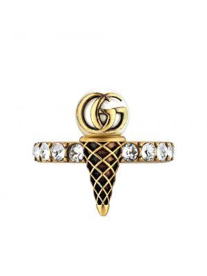 Złoty pierścionek perły Gucci