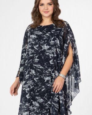 Повседневное расклешенное шифоновое платье миди круглое прима линия
