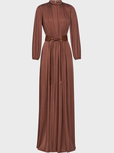 Коричневое платье с поясом на молнии Elisabetta Franchi