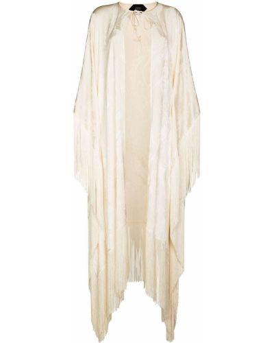 Biała narzutka z frędzlami Taller Marmo