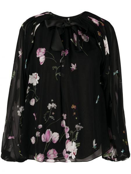 С рукавами черная блузка с завязками Giambattista Valli