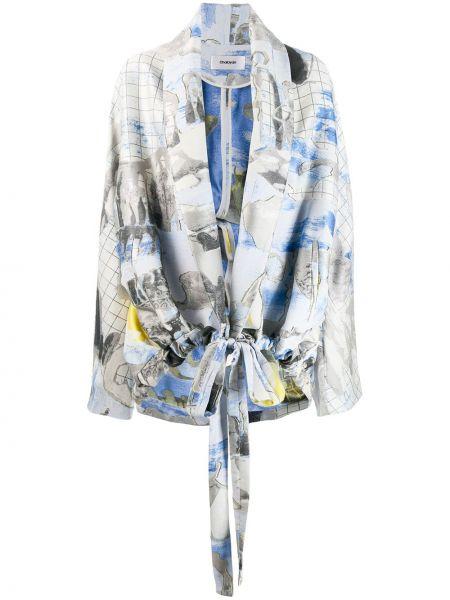Свободный шелковый синий пиджак Chalayan