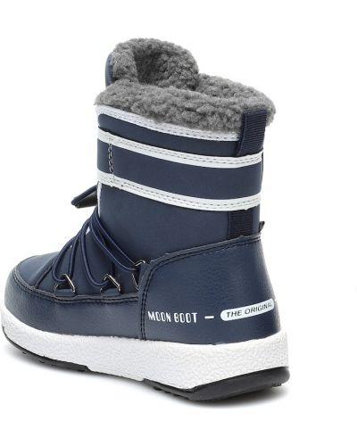 Niebieski skórzany ciepły kozaki skórzane Moon Boot Kids