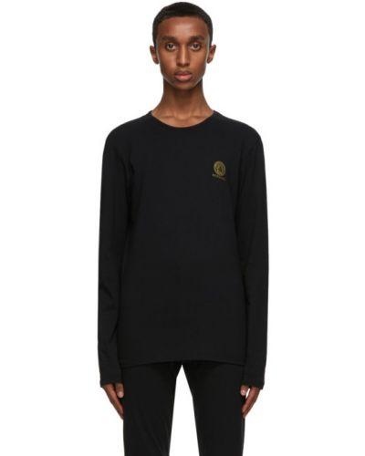 Черная футболка с длинными рукавами с воротником Versace Underwear