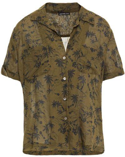 Хлопковая зеленая рубашка с карманами James Perse