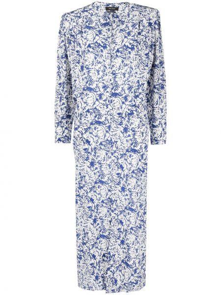 Шелковое платье макси - синее Isabel Marant