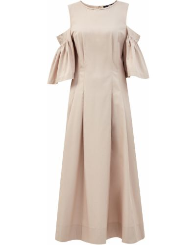 Пышное бежевое облегающее платье из поплина с сеткой Karl Lagerfeld
