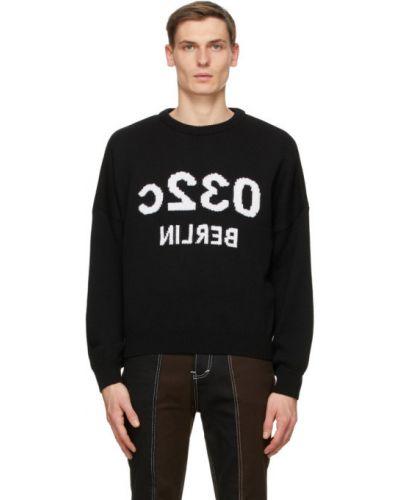 Czarny długi sweter wełniany z długimi rękawami 032c