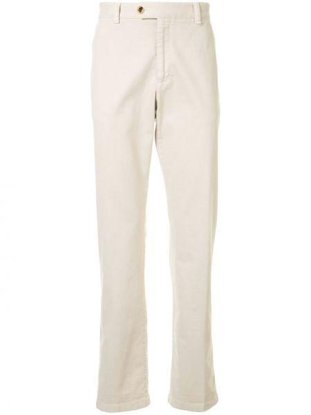 Beżowe spodnie bawełniane z paskiem Gieves & Hawkes