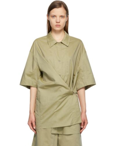 Zielona koszula krótki rękaw bawełniana Lemaire
