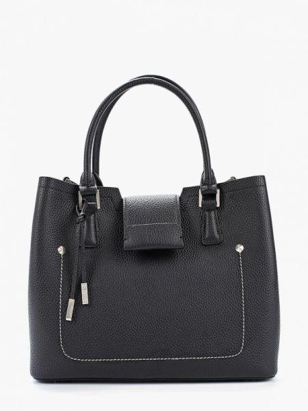 Черная кожаная сумка из натуральной кожи Eleganzza
