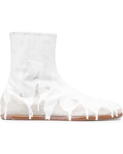 Białe botki skorzane płaska podeszwa Maison Margiela