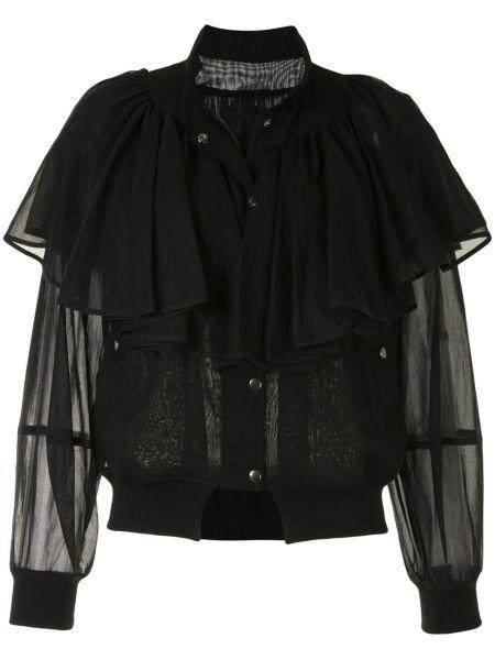 Z rękawami bawełna czarny długa kurtka z mankietami Enfold