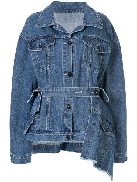Классическая синяя джинсовая куртка на пуговицах с поясом Ruban