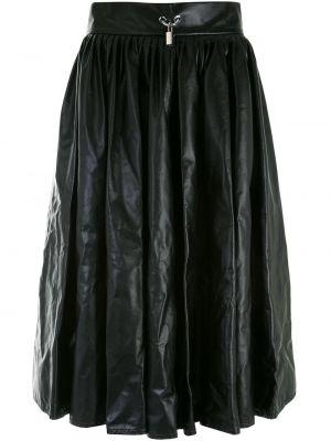 Плиссированная черная кожаная юбка Christopher Kane