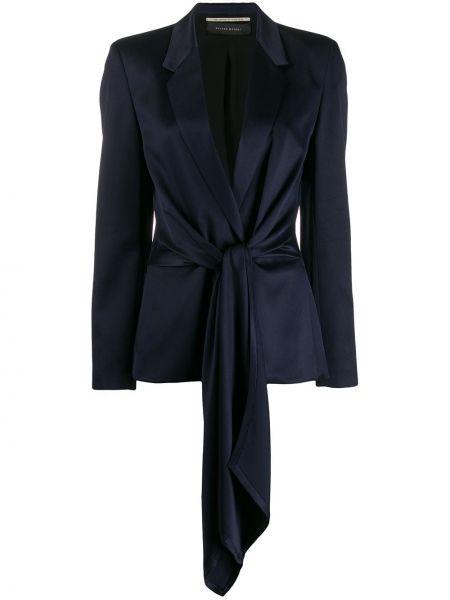 Шелковый синий короткая куртка с поясом Roland Mouret