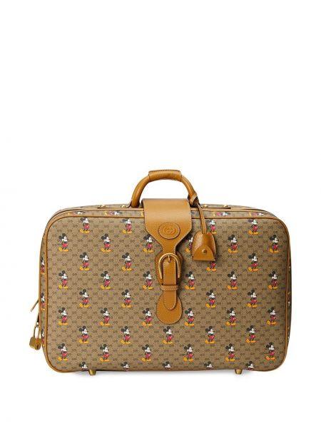 Коричневый кожаный чемодан на молнии Gucci