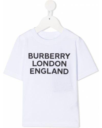 Прямая с рукавами белая футболка Burberry