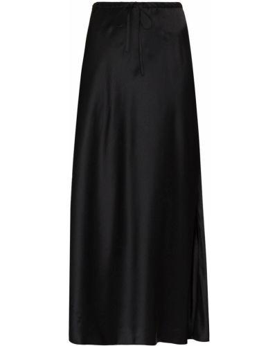 Шелковая с завышенной талией черная юбка миди Rosetta Getty