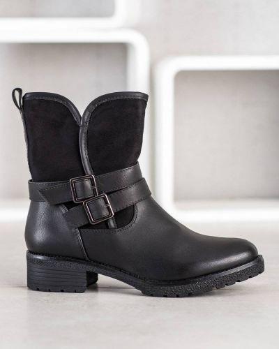 Skórzany czarny botki za pełne z wkładkami Merg Selection