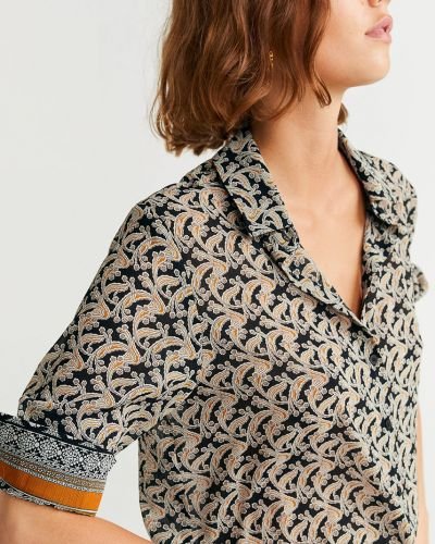 Блузка с длинным рукавом классическая с поясом Mango