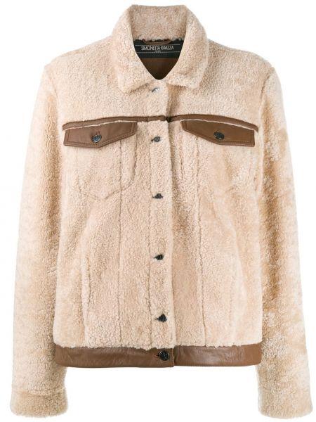 Кожаная куртка с воротником на пуговицах Simonetta Ravizza