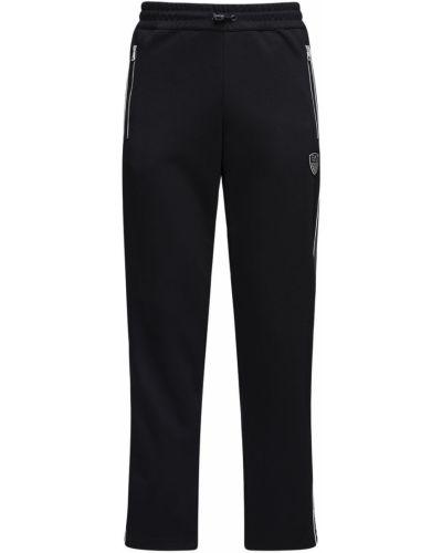 Хлопковые спортивные брюки эластичные с завязками Ea7 Emporio Armani
