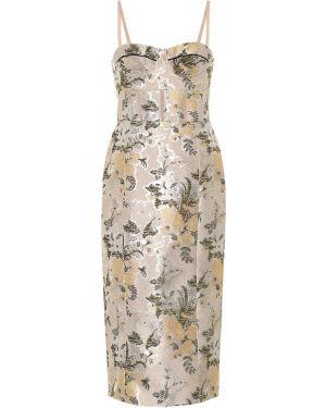 Платье с цветочным принтом из парчи Brock Collection