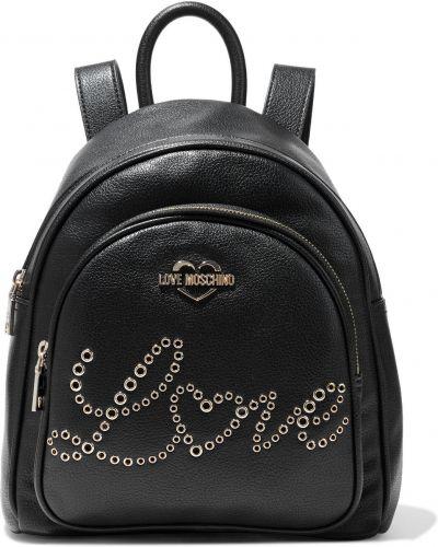 Кожаный рюкзак - черный Love Moschino