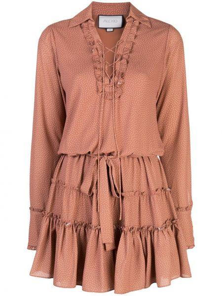 Платье макси розовое в горошек Alexis