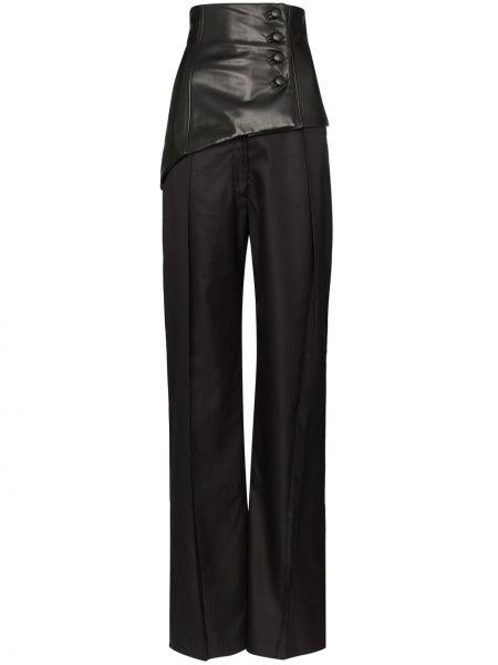 Черные плиссированные свободные брюки Aleksandre Akhalkatsishvili