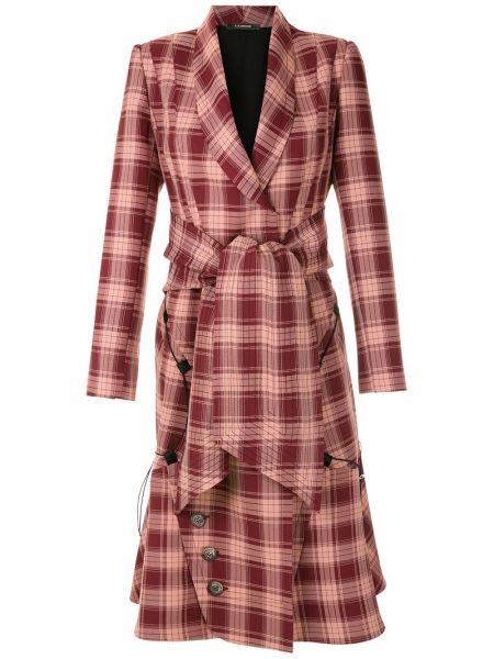Прямое красное пальто классическое в клетку À La Garçonne