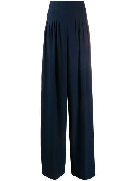 Синие свободные брюки со складками свободного кроя с потайной застежкой Hebe Studio
