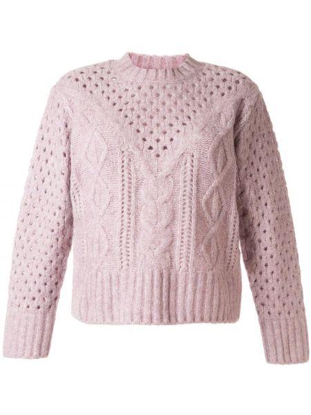 Розовый акриловый свитер в рубчик свободного кроя Sea