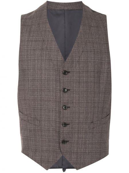 Шерстяная коричневая жилетка с карманами с V-образным вырезом D'urban