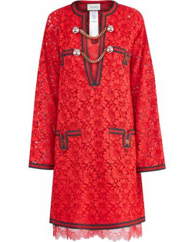 Платье с цветочным принтом с V-образным вырезом Gucci