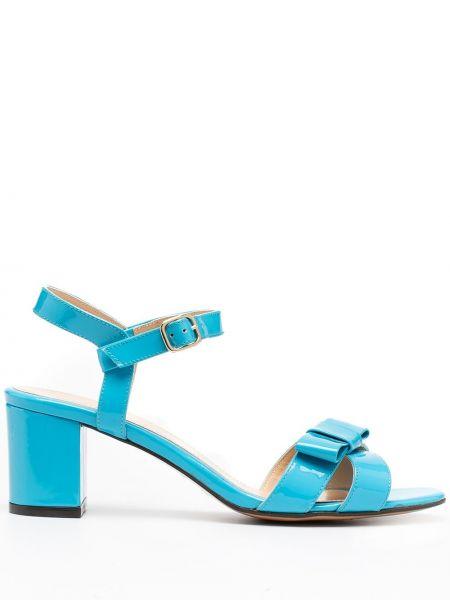 Синие открытые босоножки на каблуке с пряжкой Tila March