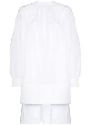 Ватное хлопковое белое платье мини Alexander Mcqueen