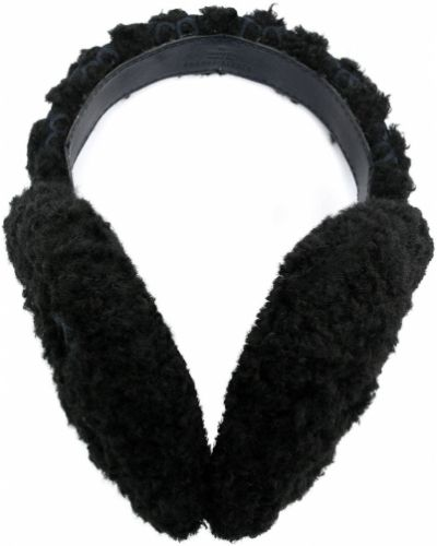 Тонкие черные кожаные меховые наушники Gucci