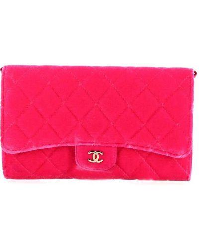 Różowa sprzęgło na łańcuchu skórzana pikowana Chanel Pre-owned