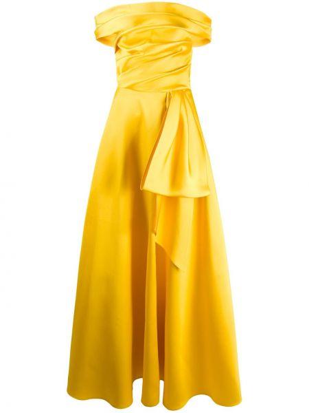 Желтое вечернее платье с драпировкой с открытыми плечами на молнии Talbot Runhof