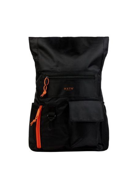 Czarny plecak na laptopa w paski na rzepy Hxtn Supply