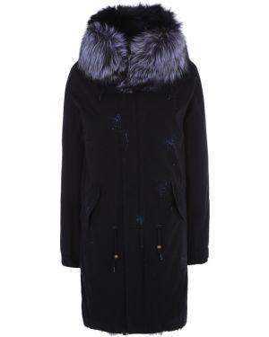 Теплая свободная черная куртка с капюшоном с мехом Enjoy
