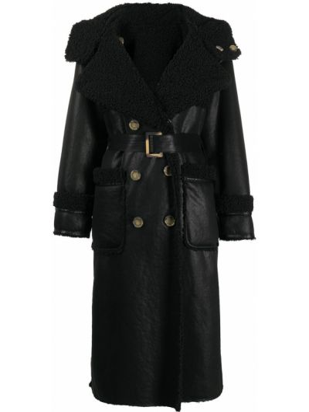 Черное пальто с капюшоном на пуговицах двубортное из овчины Urbancode